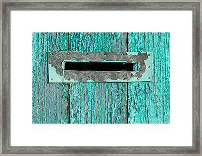 Framed Print featuring the photograph Letter Box On Blue Wood by John Williams