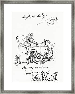 Letter By George Cruikshank Framed Print by Vintage Design Pics