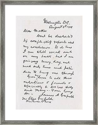 Letter From James Abram Garfield 1831 Framed Print