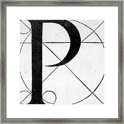 Letter P Framed Print by Leonardo Da Vinci