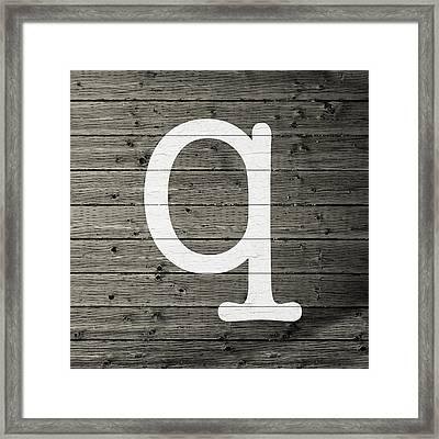 Letter Q White Paint Peeling From Wood Planks Framed Print