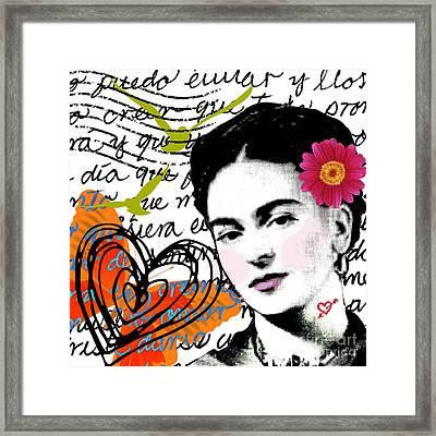 Letter To Frida - Carta A Frida Framed Print by Laura  Gomez