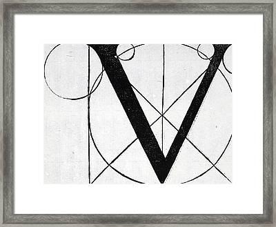 Letter V Framed Print by Leonardo Da Vinci