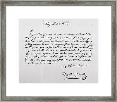 Letter Written To Archbishop Of Toledo Framed Print by Vintage Design Pics