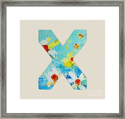 Letter X Roman Alphabet - A Floral Expression, Typography Art Framed Print