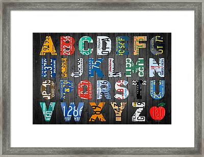 Letters Of The Alphabet Recycled Vintage License Plate Art With Apple Colorful School Nursery Kids Room Print Framed Print by Design Turnpike