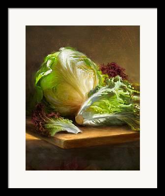 Lettuce Paintings Framed Prints