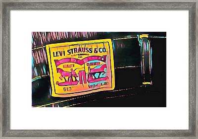 Levi Label Abstract Framed Print