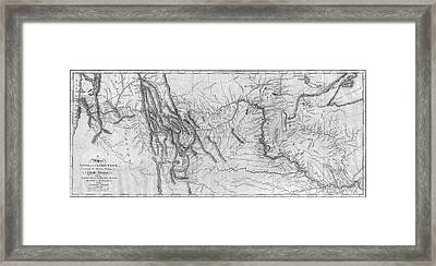 Lewis And Clark Hand-drawn Map Of The Unknown 1804 Framed Print