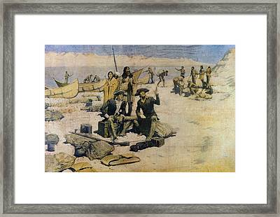 Lewis And Clark On The Columbian River Framed Print by Everett