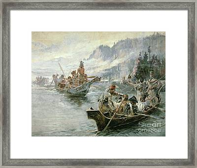 Lewis And Clark On The Lower Columbia River Framed Print by Charles Marion Russell