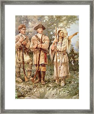 Lewis And Clark With Sacagawea Framed Print by Edgar Samuel Paxson