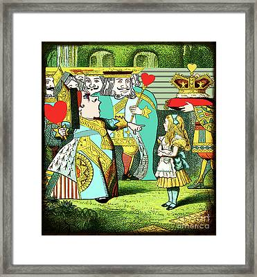 Lewis Carrolls Alice, Red Queen And Cards Framed Print