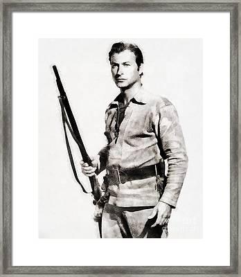 Lex Barker, Vintage Actor By John Springfield Framed Print by John Springfield