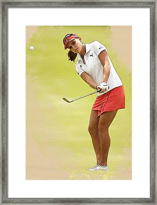 Lexi Thompson Chips To The First Green  Framed Print