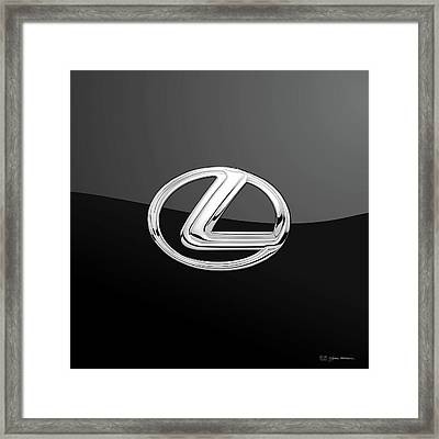 Lexus - 3d Badge On Black Framed Print