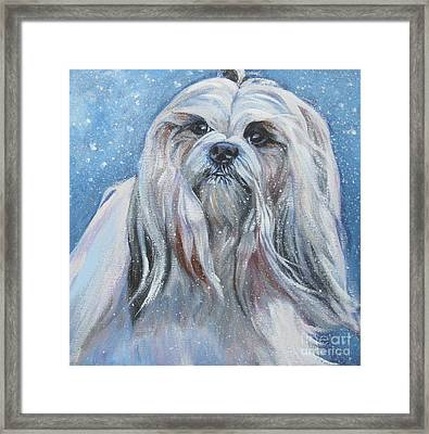 Lhasa Apso In Snow Framed Print