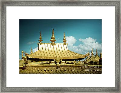 Lhasa Jokhang Temple Fragment Tibet Artmif.lv Framed Print by Raimond Klavins