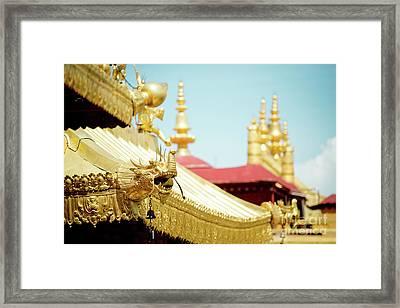 Lhasa Jokhang Temple Fragment Tibet Framed Print by Raimond Klavins