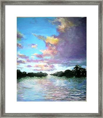 Framed Print featuring the painting L'heure Mauve by Marie-Line Vasseur