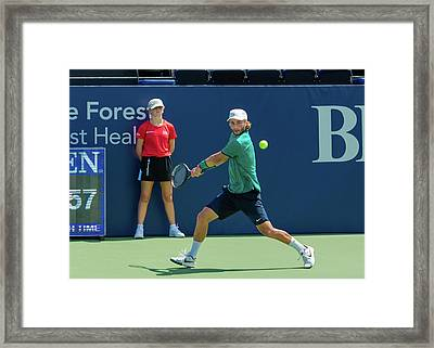Liam Broady Plays Center Court At The Winston-salem Open Framed Print by Bryan Pollard