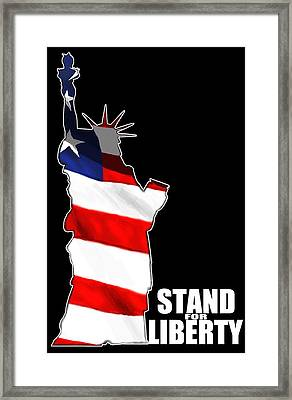 Liberty And American Flag W/ Black Background Framed Print