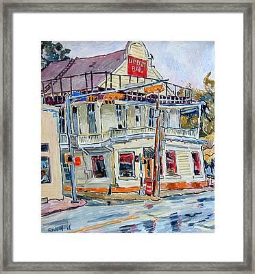 Liberty Bar In San Antonio. Rainy Day. Framed Print by Vitali Komarov