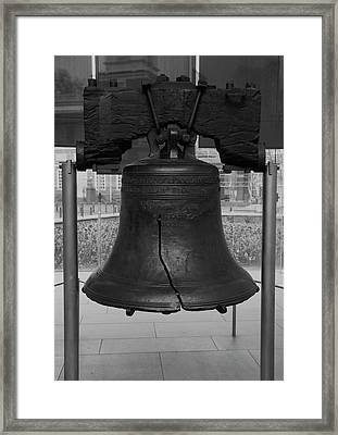 Framed Print featuring the digital art Liberty Bell Bw by Chris Flees