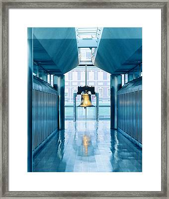 Liberty Bell Hanging In A Corridor Framed Print