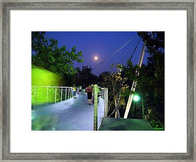 Liberty Bridge At Night Greenville South Carolina Framed Print
