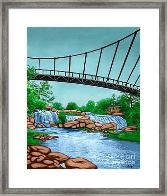 Liberty Bridge Greenville Sc Framed Print by Rachelle Petersen