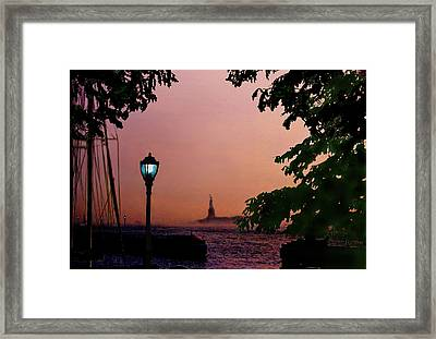 Framed Print featuring the digital art Liberty Fading Seascape by Steve Karol