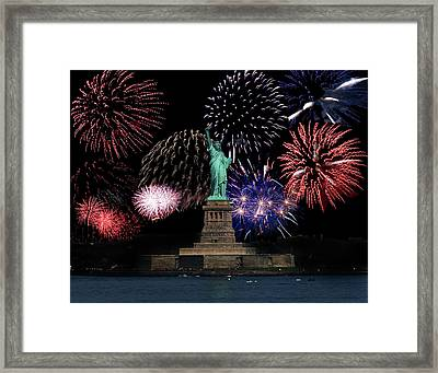Liberty Fireworks 1 Framed Print by BuffaloWorks Photography