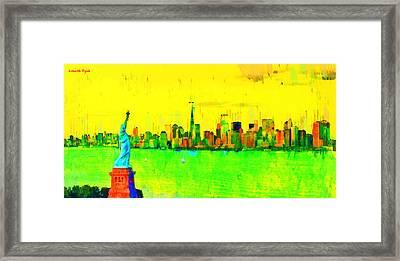 Liberty In New York - Da Framed Print by Leonardo Digenio