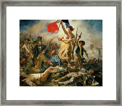 Framed Print featuring the painting Liberty Leading The People By Eugene Delacroix 1830 by Movie Poster Prints