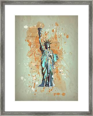 Liberty, New York, Manhattan, Vintage, Retro Framed Print
