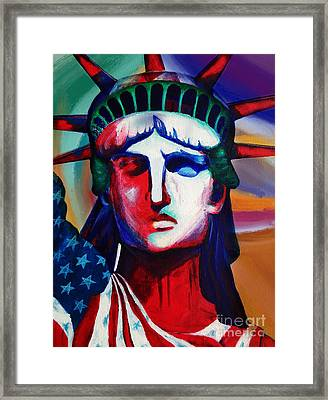 Liberty Of Statue New York 98jhm Framed Print by Gull G