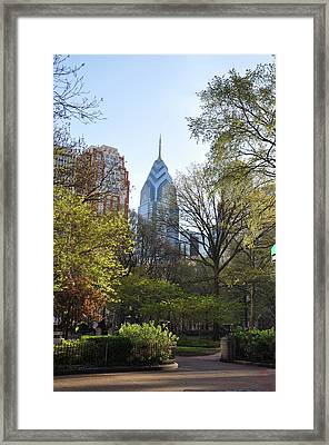Liberty Place And Rittenhouse Square In The Spring Framed Print by Bill Cannon