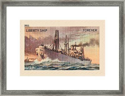 Liberty Ship Stamp Framed Print by Heidi Smith