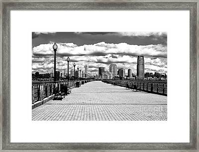 Liberty State Park Pier Framed Print by John Rizzuto