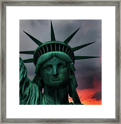 Liberty Sunset Framed Print by Martin Newman