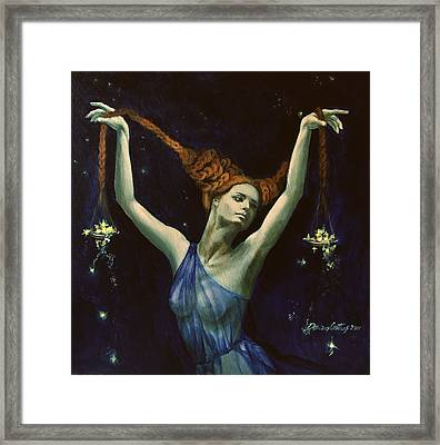 Libra From Zodiac Series Framed Print by Dorina  Costras