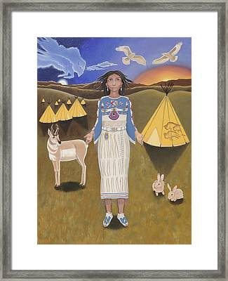 Libra / White Buffalo Calf Woman Framed Print by Karen MacKenzie