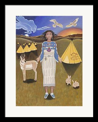 White Buffalo Calf Woman Paintings Framed Prints