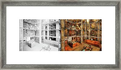 Library - A Literary Classic 1905 - Side By Side Framed Print by Mike Savad