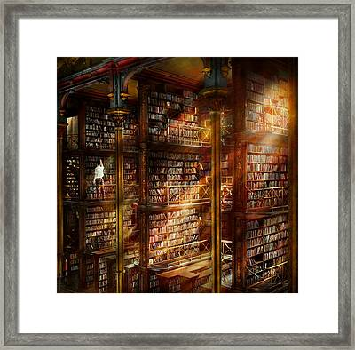 Library - It Starts With A Single Page 1920 Framed Print by Mike Savad