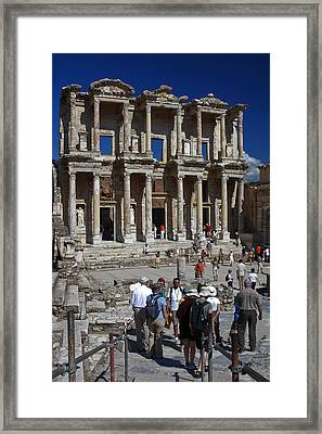 Library Of Celsus Framed Print by Sally Weigand