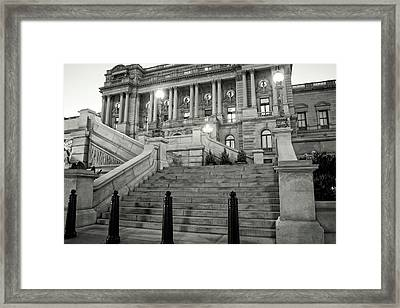 Framed Print featuring the photograph Library Of Congress In Black And White by Greg Mimbs