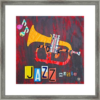 License Plate Art Jazz Series Number One Trumpet Framed Print by Design Turnpike