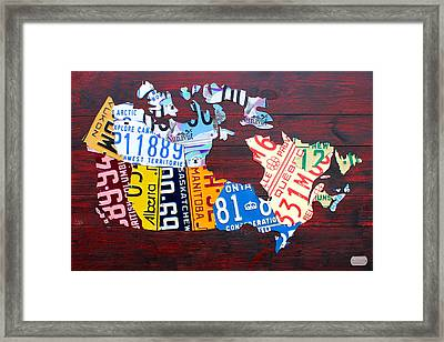 License Plate Map Of Canada Framed Print